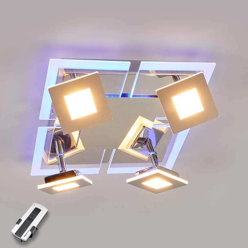 Vierlamps, hoekige LED-plafondlamp Namika