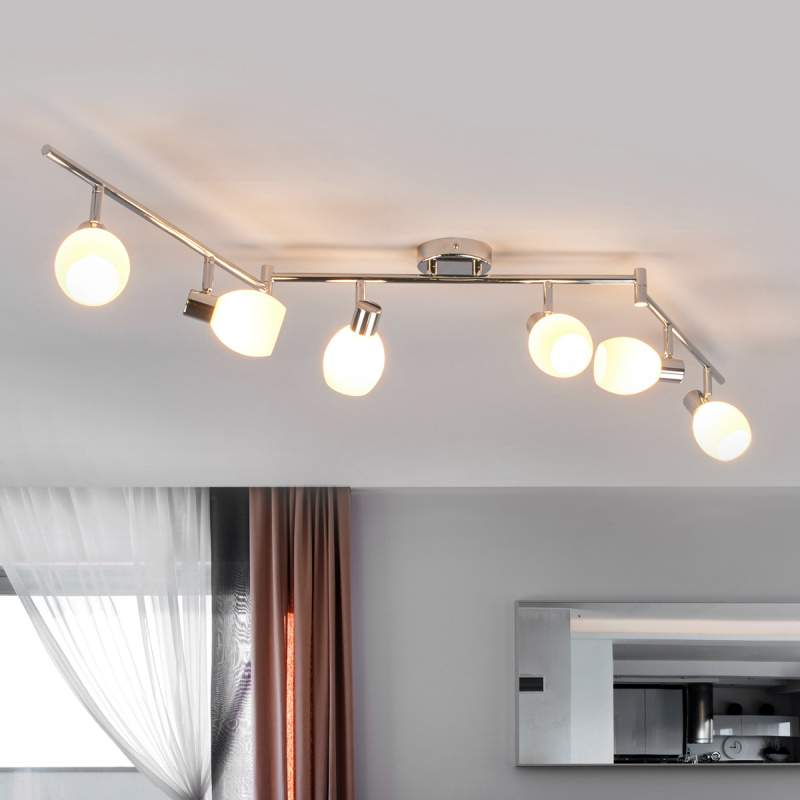 Glazen plafondlamp Aidan met 6 lichtbronnen, LED