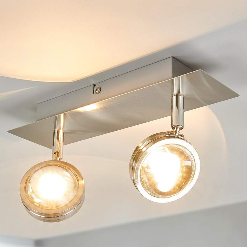 2.lamps LED plafondlamp Pablos met glazen lenzen