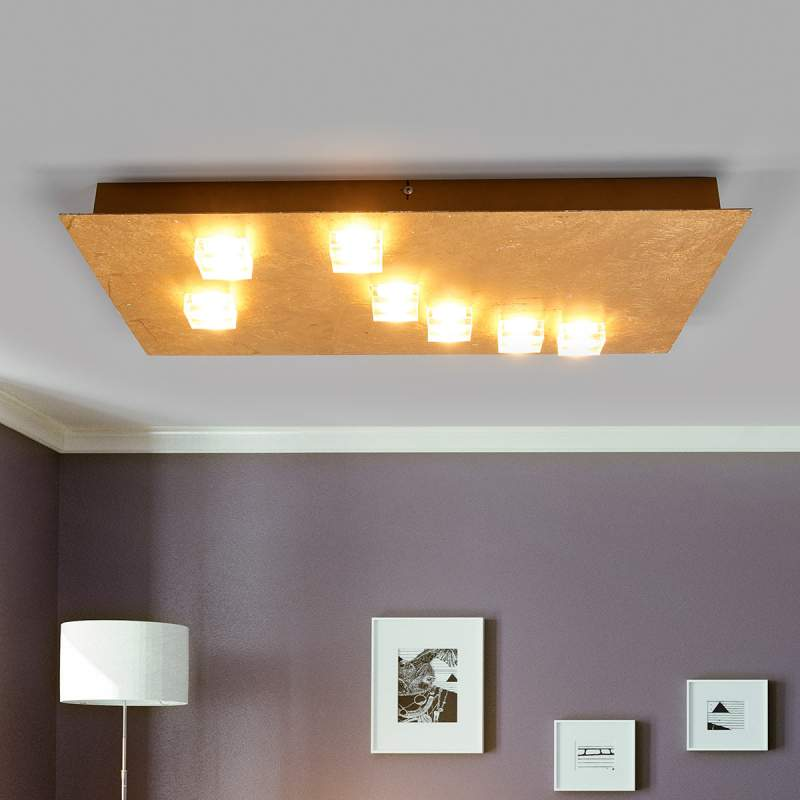 Hoekige LED plafondlamp Codrin in goud