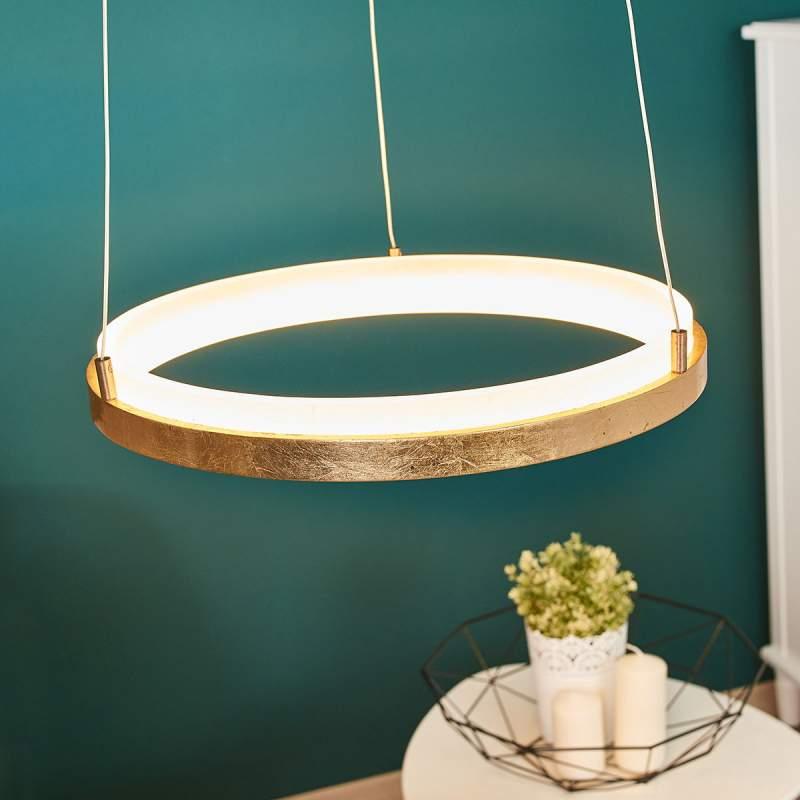 Gouden LED hanglamp Katara, rond
