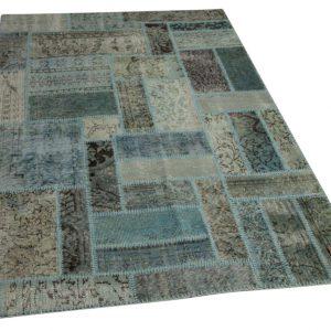 patchwork vloerkleed blauw grijs 205cm x 140cm