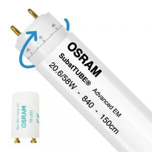 Osram SubstiTUBE Advanced EM 20.6W 840 150cm   Koel Wit - incl. LED Starter - Vervangt 58W - Draaibaar