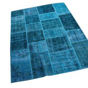 Patchwork vloerkleed, blauw, 227cm x 168cm