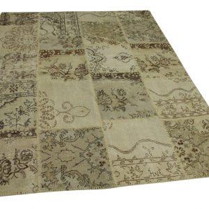 patchwork vloerkleed beige 241cm x 177cm
