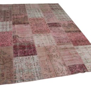 patchwork vloerkleed roze 300cm x 215cm