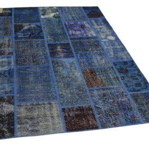 patchwork vloerkleed blauw 230cm x 164cm