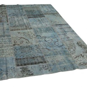 patchwork vloerkleed blauw 300cm x 200cm