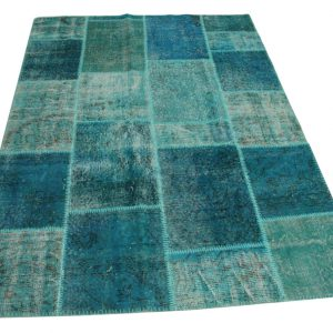 blauw patchwork vloerkleed 225cm x 160cm