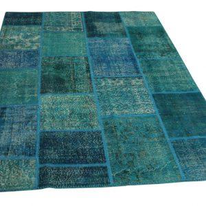 blauw patchwork vloerkleed 241cm x 170cm