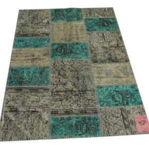 grijs, aqua patchwork vloerkleed 160cm x 110cm