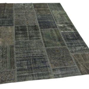 patchwork vloerkleed, grijs, blauw 242cm x 171cm