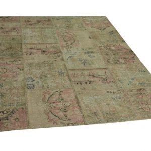 patchwork vloerkleed met roze 246cm x 202cm