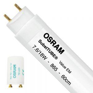 Osram SubstiTUBE Value EM 7.6W 865 60cm   Daglicht - incl. LED Starter - Vervangt 18W