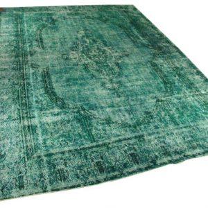 Vintage vloerkleed, zeegroen, 405cm x 286cm