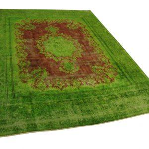 groen met rood vintage vloerkleed 380cm x 287cm