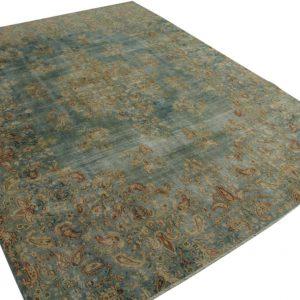 vintage vloerkleed groenblauw 402cm x 295cm