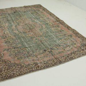 vintage vloerkleed groen, roze 270cm x 182cm