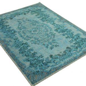Vintage vloerkleed blauw badmat (90cm x 70cm)