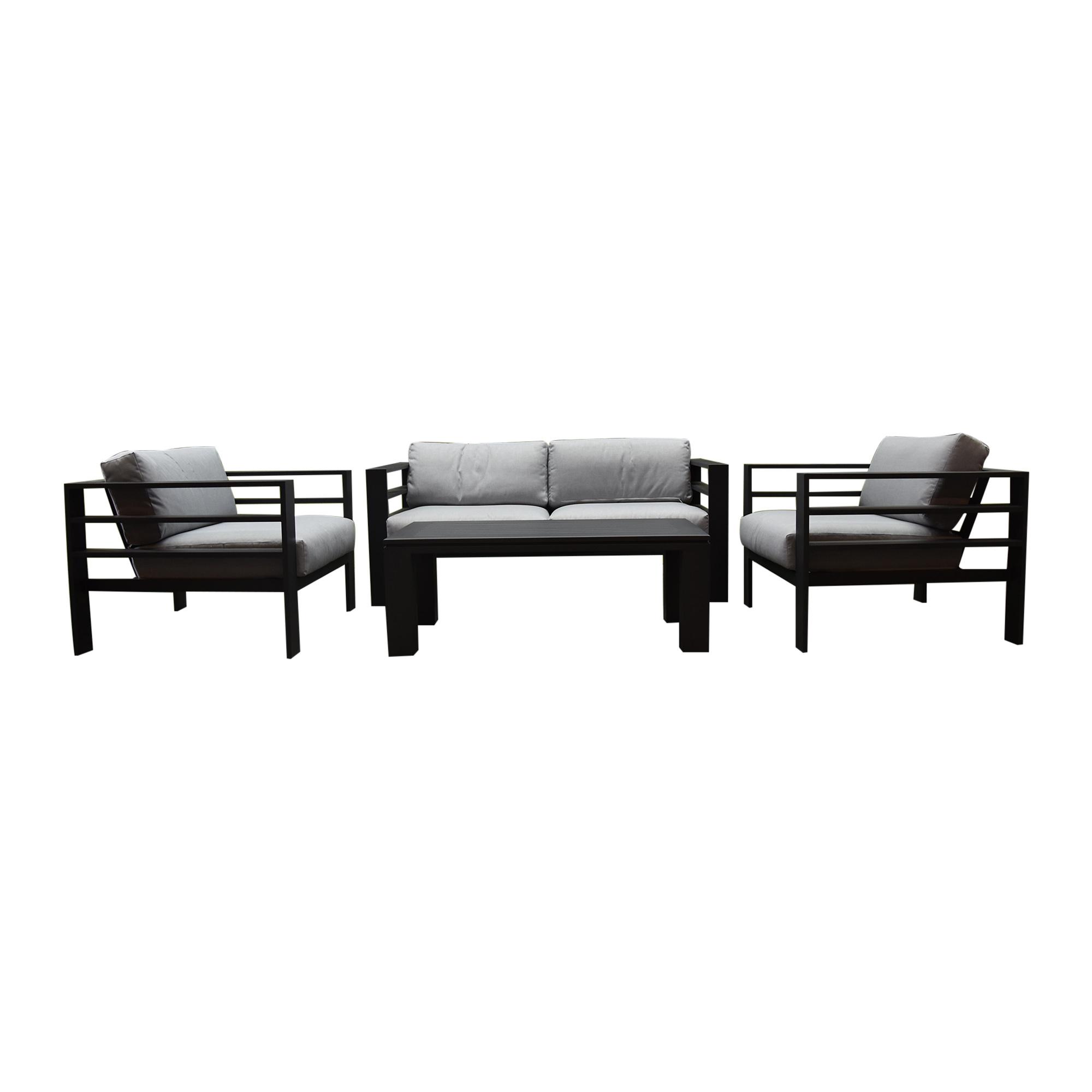 Almeria stoel-bank loungeset 4-delig aluminium antraciet