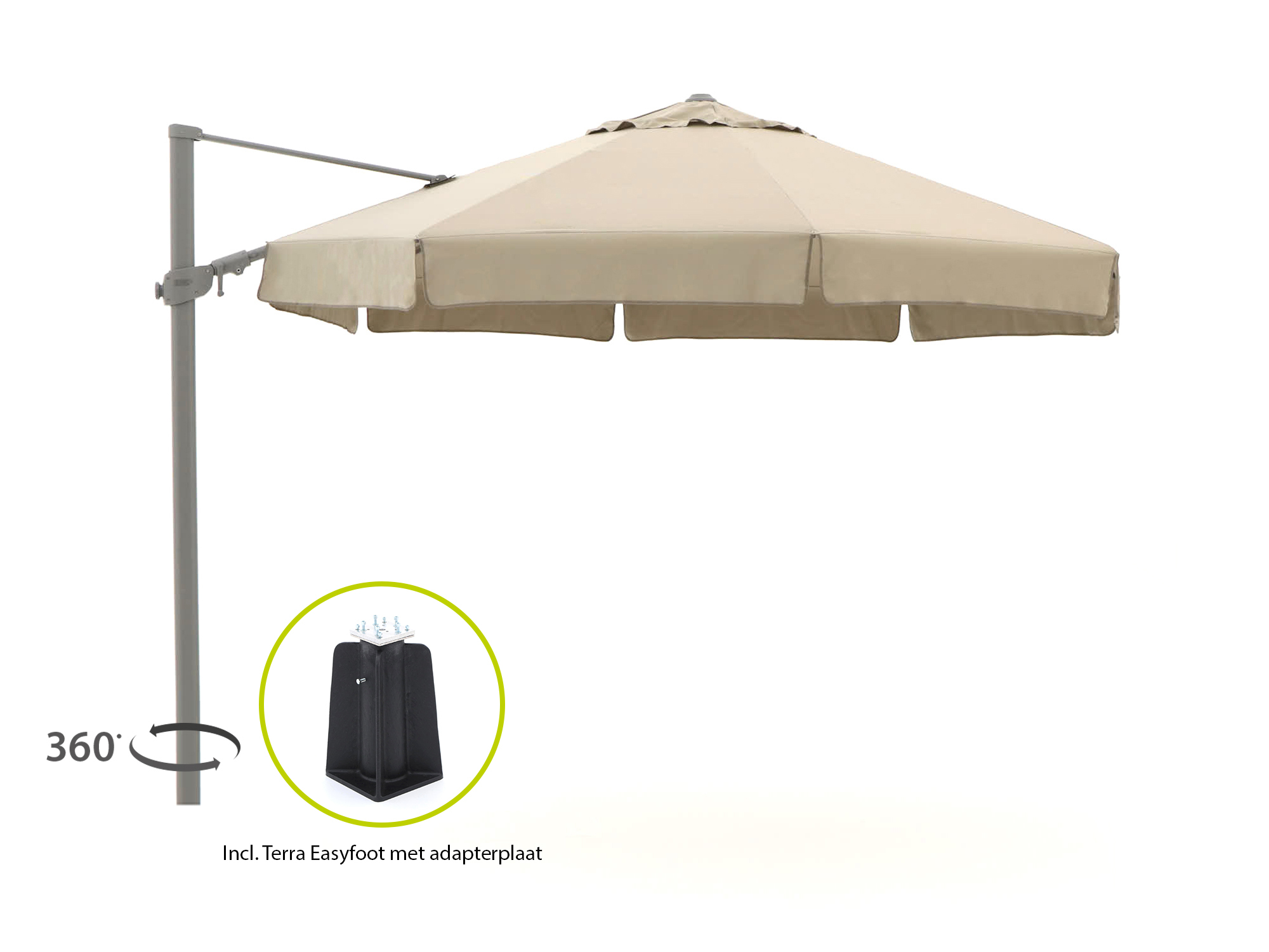 Shadowline Memphis zweefparasol ø 350cm - Laagste prijsgarantie!