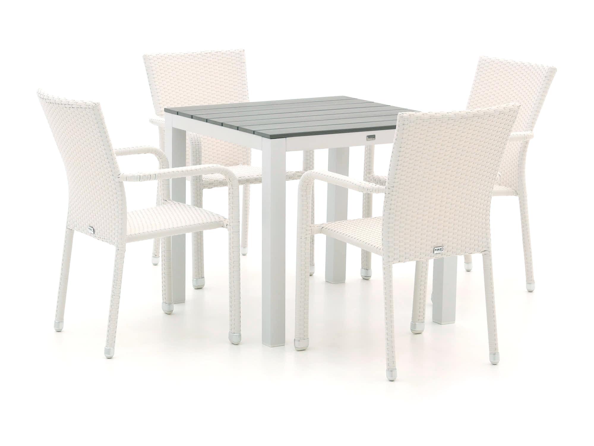 Forza Fossano/Fidenza 78cm dining tuinset 5-delig stapelbaar - Laagste prijsgarantie!
