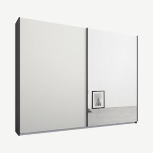 Malix kledingkast met 2 schuifdeuren, 225 cm, grafietgrijs frame, mat wit en spiegel deuren, standaard binnenkant