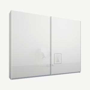 Malix kledingkast met 2 schuifdeuren, 225 cm, wit frame, witte, glazen deuren, standaard binnenkant