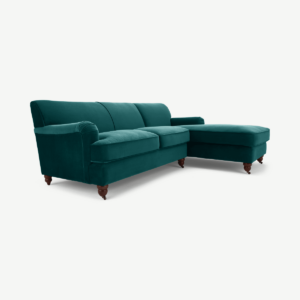 Orson Right Hand Facing Chaise end Corner Sofa, Velvet Seafoam Blue