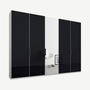 Caren vijfdeurs kledingkast met handvatten, 250 cm, wit frame, basaltgrijs glas en spiegeldeuren, premium interieur