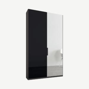 Caren tweedeurs kledingkast met handvatten, 100 cm, grafietgrijs frame, basaltgrijs glas en spiegeldeuren, standaard interieur