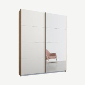Malix tweedeurs kledingkast met schuifdeuren, 135 cm, eiken frame, matwit en spiegeldeuren, klassiek interieur