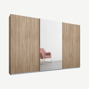 Malix driedeurs kledingkast met schuifdeuren, 270 cm, eiken frame, eiken en spiegeldeuren, klassiek interieur