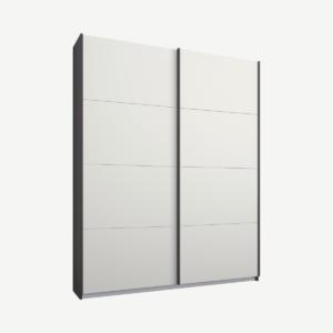 Malix tweedeurs kledingkast met schuifdeuren, 135 cm, grafietgrijs frame, matwitte deuren, standaard interieur
