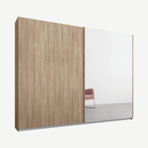 Malix tweedeurs kledingkast met schuifdeuren, 225 cm, eiken frame, eiken en spiegeldeuren, premium interieur