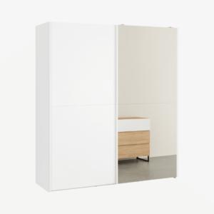 Elso garderobekast met schuifdeuren, 180cm, wit frame en spiegeldeuren