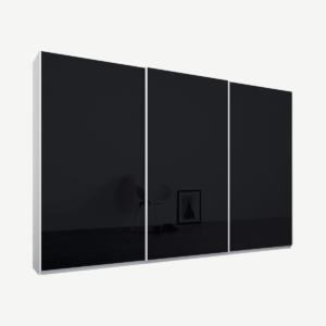 Malix driedeurs kledingkast met schuifdeuren, 270 cm, wit frame, basaltgrijze glazen deuren, klassiek interieur