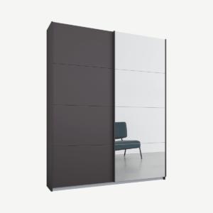 Malix tweedeurs kledingkast met schuifdeuren, 135 cm, grafietgrijs frame, mat grafietgrijs en spiegeldeuren, klassiek interieur