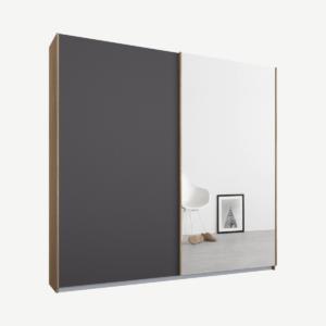 Malix tweedeurs kledingkast met schuifdeuren, 181 cm, eiken frame, mat grafietgrijs en spiegeldeuren, klassiek interieur