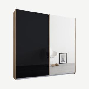 Malix tweedeurs kledingkast met schuifdeuren, 181 cm, eiken frame, basaltgrijs glas en spiegeldeuren, klassiek interieur