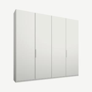 Caren Malix kledingkast met 4 deuren, 200 cm, wit frame, matte, witte deuren, standaard