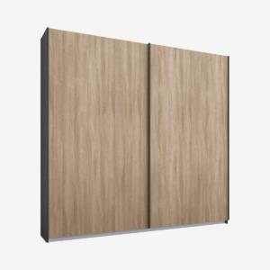 Malix tweedeurs kledingkast met schuifdeuren, 181 cm, grafietgrijs frame, eiken deuren, standaard interieur