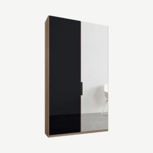 Caren tweedeurs kledingkast met handvatten, 100 cm, eiken frame, basaltgrijs glas en spiegeldeuren, standaard interieur