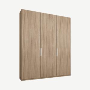 Caren driedeurs kledingkast met handvatten, 150 cm, eiken frame, eiken deuren, premium interieur