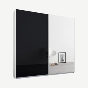 Malix tweedeurs kledingkast met schuifdeuren, 181 cm, wit frame, basaltgrijs glas en spiegeldeuren, standaard interieur