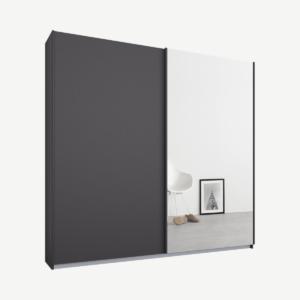 Malix tweedeurs kledingkast met schuifdeuren, 181 cm, grafietgrijs frame, mat grafietgrijs en spiegeldeuren, premium interieur