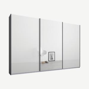 Malix driedeurs kledingkast met schuifdeuren, 270 cm, grafietgrijs frame, wit glas en spiegeldeuren, klassiek interieur