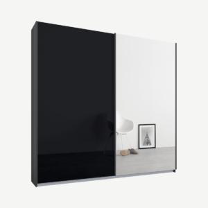 Malix tweedeurs kledingkast met schuifdeuren, 181 cm, grafietgrijs frame, basaltgrijs glas en spiegeldeuren, premium interieur