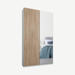 Caren tweedeurs kledingkast met handvatten, 100 cm, wit frame, eiken en spiegeldeuren, standaard interieur