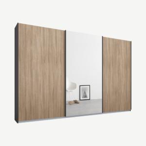 Malix driedeurs kledingkast met schuifdeuren, 270 cm, grafietgrijs frame, eiken en spiegeldeuren, premium interieur